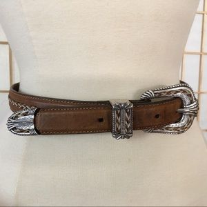 Tony Lama Western Leather and Metal Belt 28""